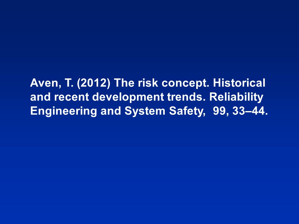 Aven, T. (2012) The risk concept