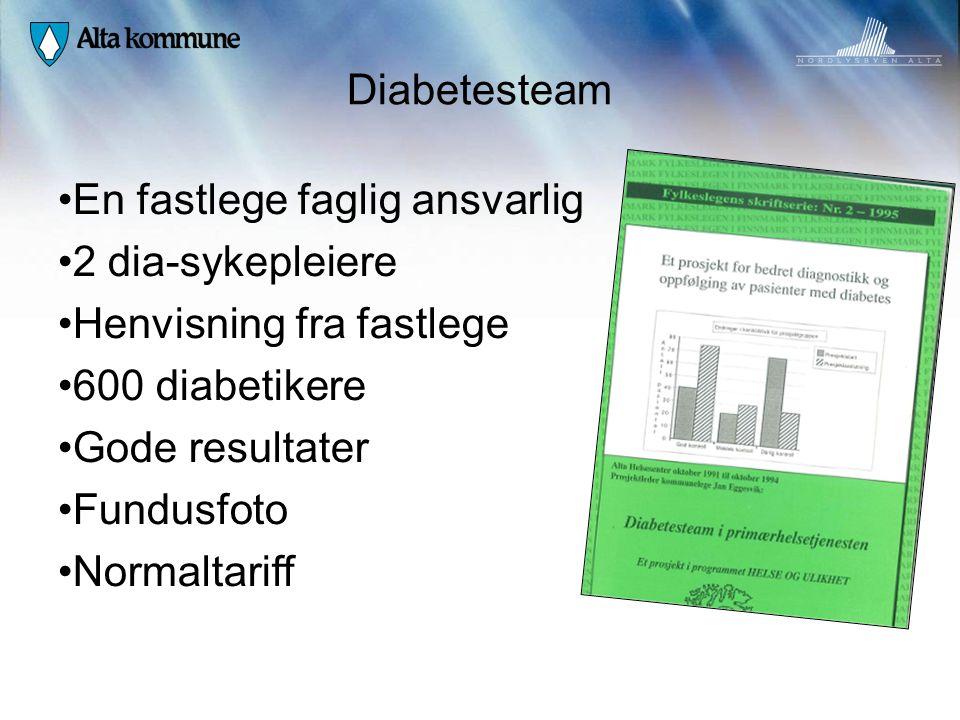 Diabetesteam En fastlege faglig ansvarlig. 2 dia-sykepleiere. Henvisning fra fastlege. 600 diabetikere.
