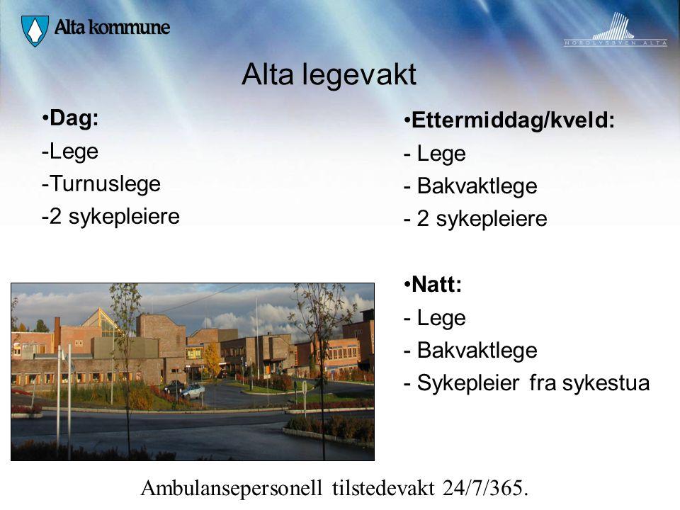 Alta legevakt Dag: Ettermiddag/kveld: Lege - Lege Turnuslege