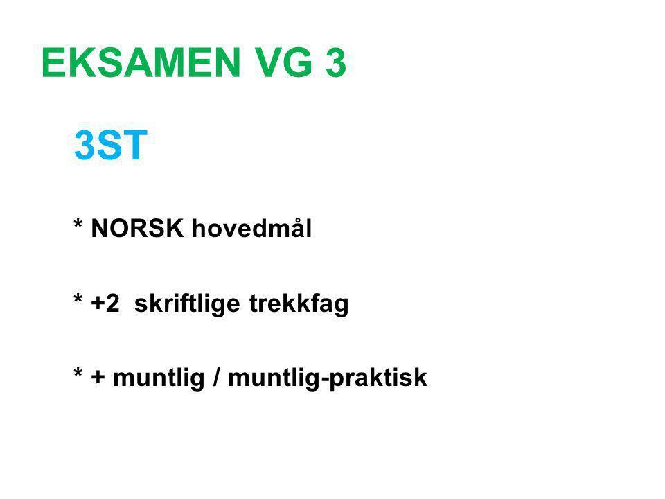 EKSAMEN VG 3 3ST * NORSK hovedmål * +2 skriftlige trekkfag