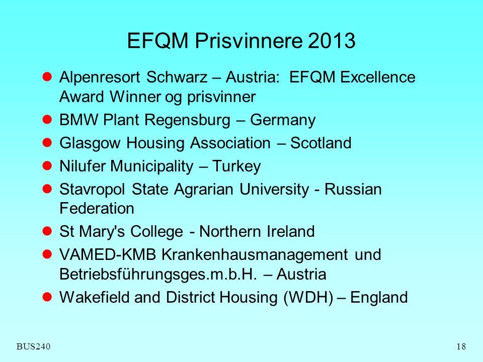 EFQM Prisvinnere 2013 Alpenresort Schwarz – Austria: EFQM Excellence Award Winner og prisvinner. BMW Plant Regensburg – Germany.