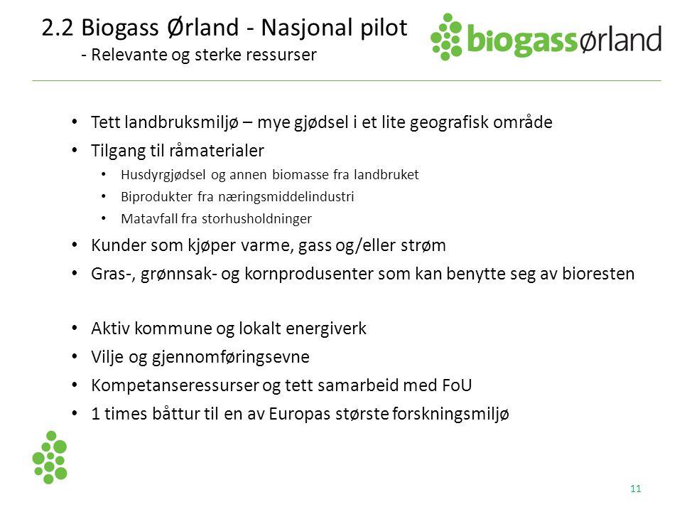 2.2 Biogass Ørland - Nasjonal pilot - Relevante og sterke ressurser