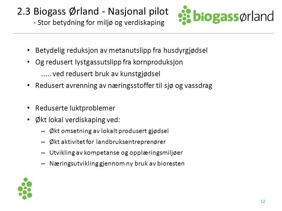 2.3 Biogass Ørland - Nasjonal pilot - Stor betydning for miljø og verdiskaping