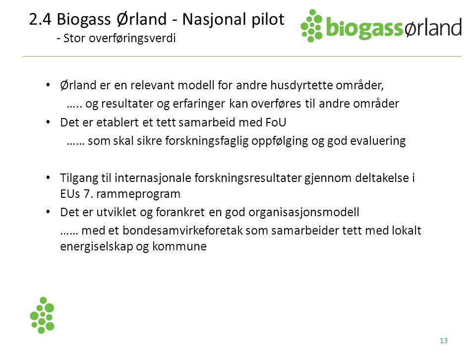 2.4 Biogass Ørland - Nasjonal pilot - Stor overføringsverdi