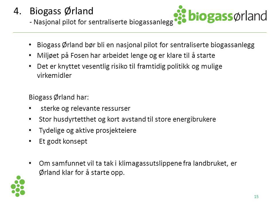 4. Biogass Ørland - Nasjonal pilot for sentraliserte biogassanlegg