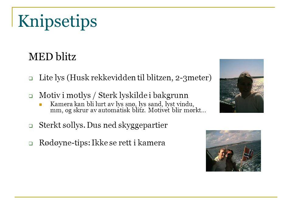 Knipsetips MED blitz Lite lys (Husk rekkevidden til blitzen, 2-3meter)