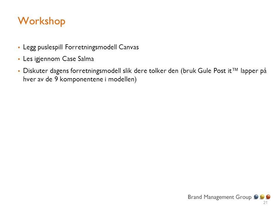 Workshop Legg puslespill Forretningsmodell Canvas