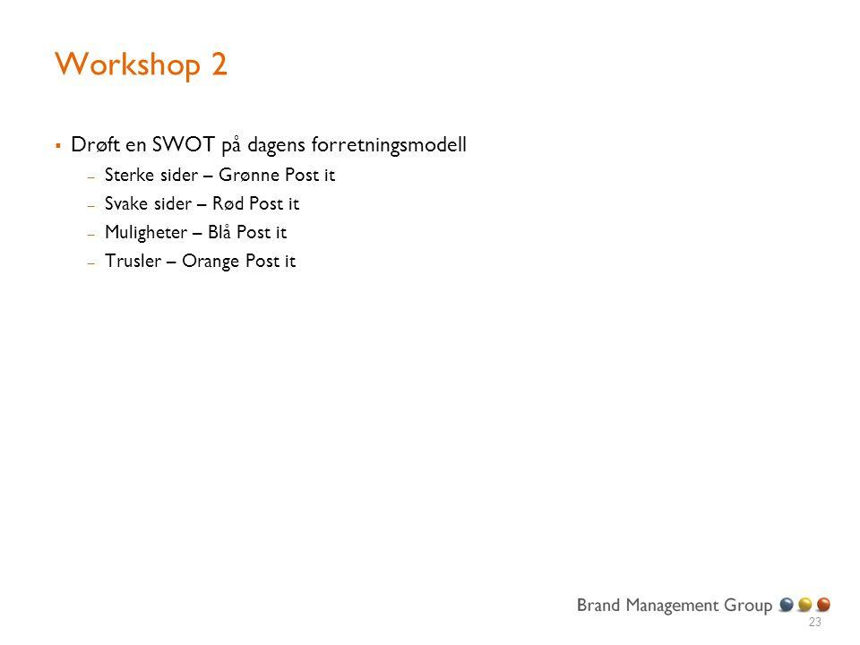 Workshop 2 Drøft en SWOT på dagens forretningsmodell