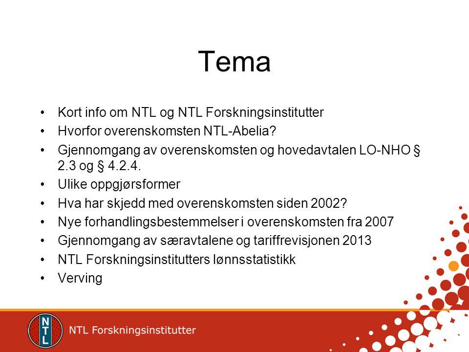 Tema Kort info om NTL og NTL Forskningsinstitutter