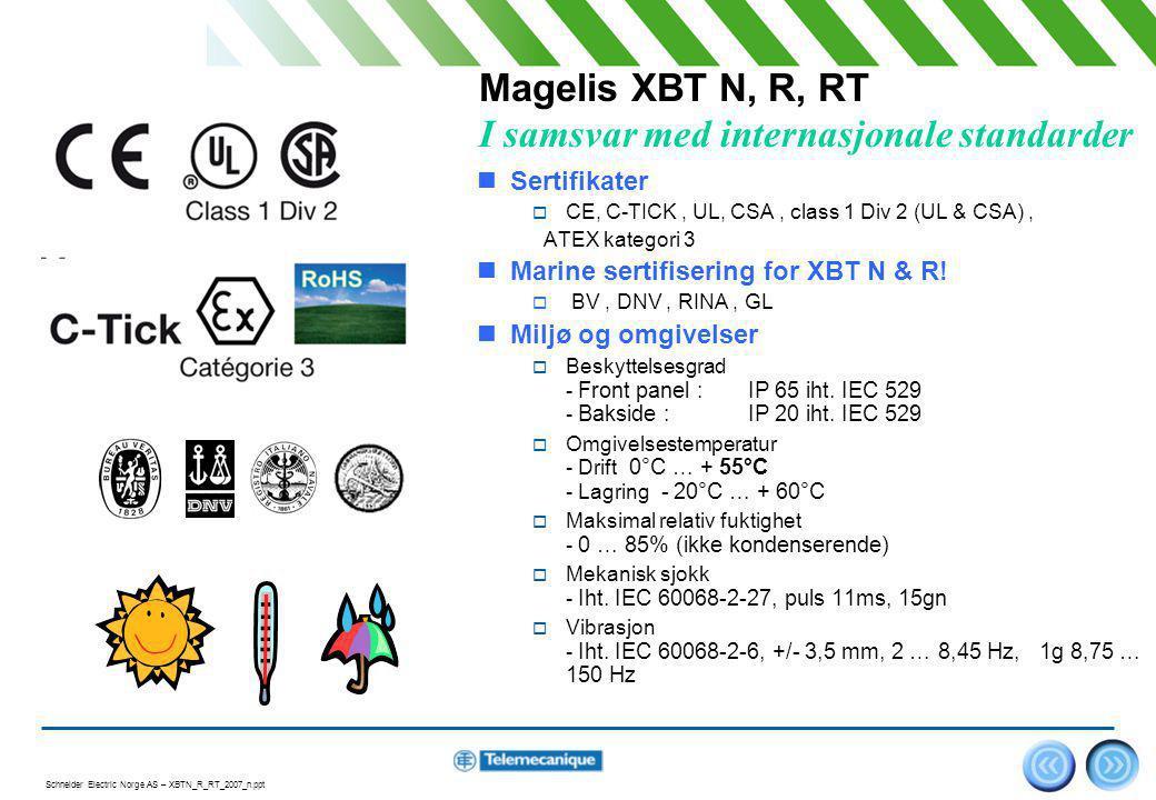 Magelis XBT N, R, RT I samsvar med internasjonale standarder