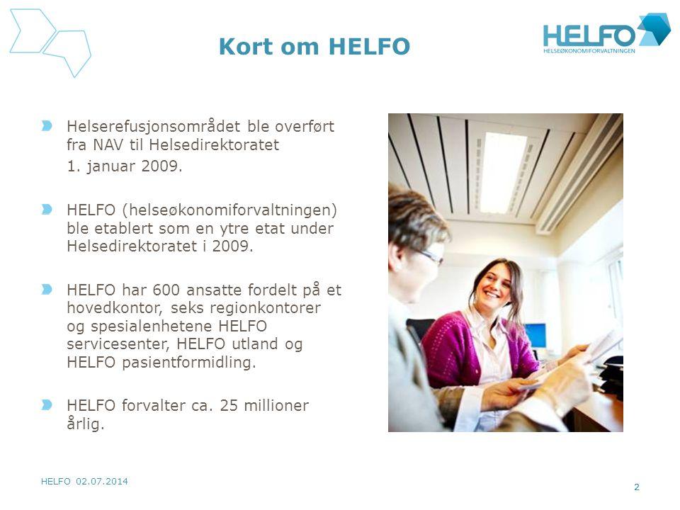 Kort om HELFO Helserefusjonsområdet ble overført fra NAV til Helsedirektoratet. 1. januar 2009.