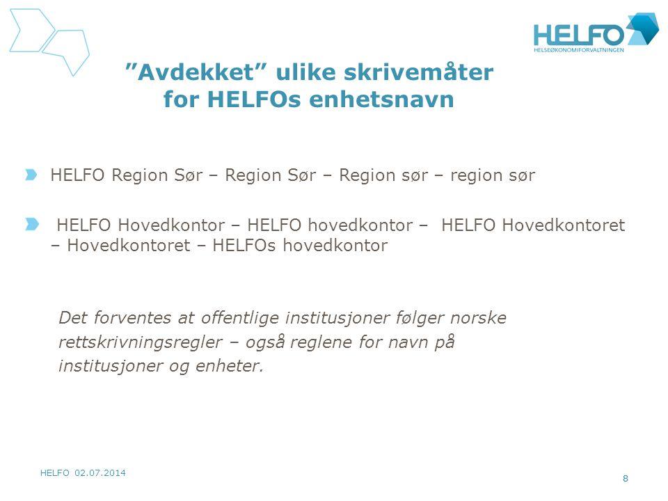 Avdekket ulike skrivemåter for HELFOs enhetsnavn