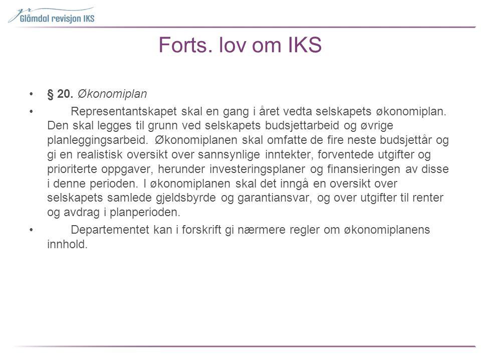 Forts. lov om IKS § 20. Økonomiplan