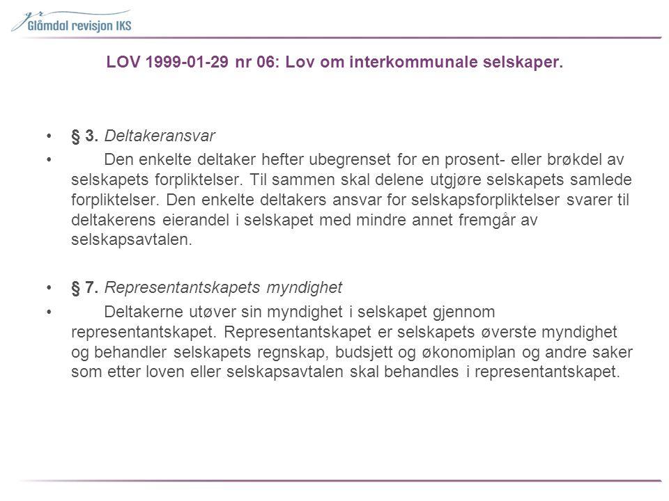 LOV 1999-01-29 nr 06: Lov om interkommunale selskaper.