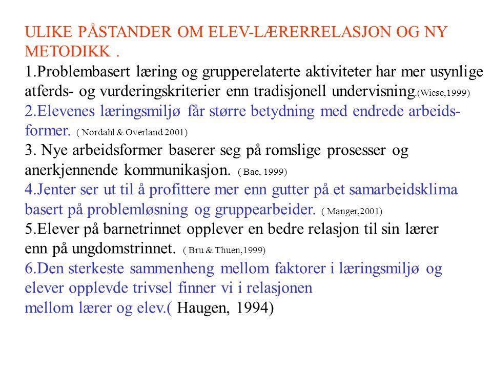ULIKE PÅSTANDER OM ELEV-LÆRERRELASJON OG NY