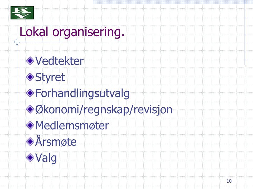 Lokal organisering. Vedtekter Styret Forhandlingsutvalg