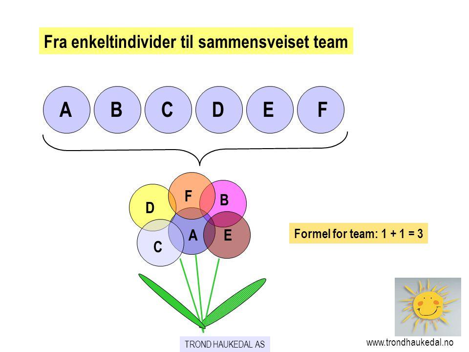 A B C D E F Fra enkeltindivider til sammensveiset team F B D A E C