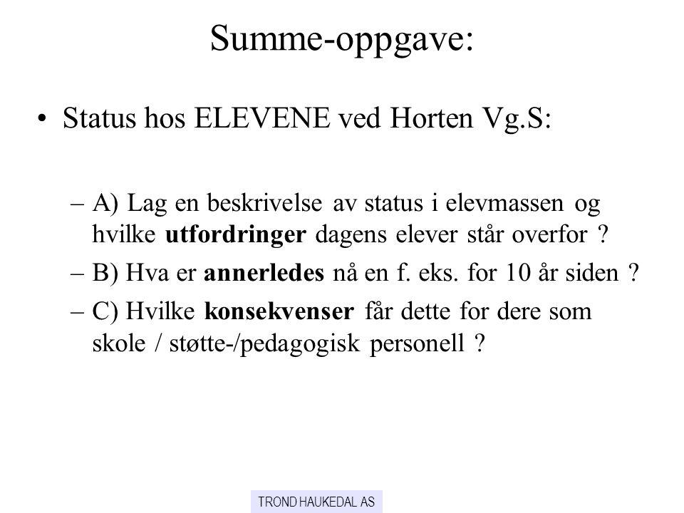 Summe-oppgave: Status hos ELEVENE ved Horten Vg.S: