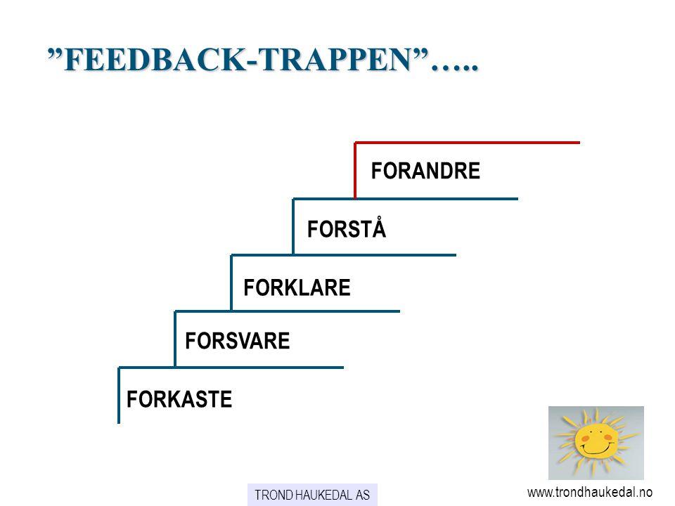 FEEDBACK-TRAPPEN ….. FORANDRE FORSTÅ FORKLARE FORSVARE FORKASTE