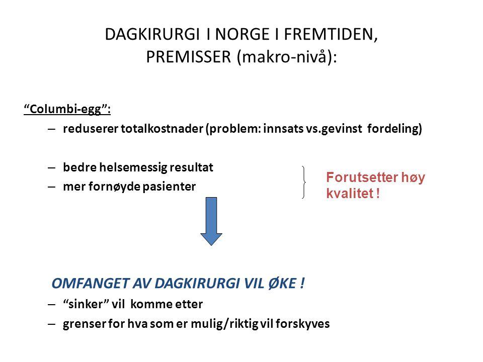 DAGKIRURGI I NORGE I FREMTIDEN, PREMISSER (makro-nivå):