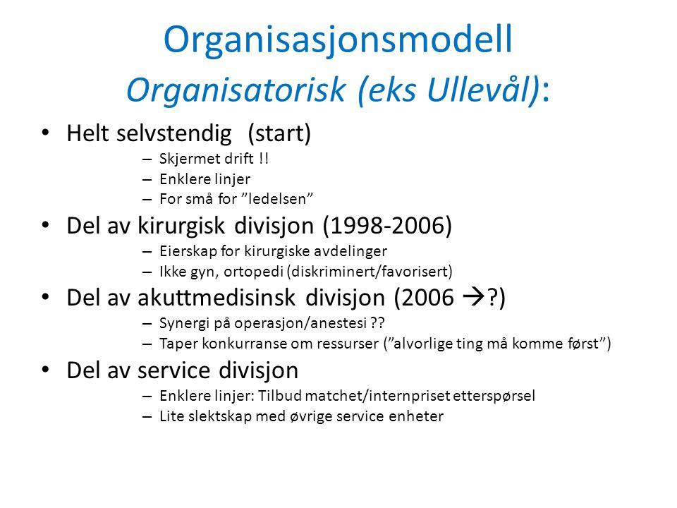 Organisasjonsmodell Organisatorisk (eks Ullevål):
