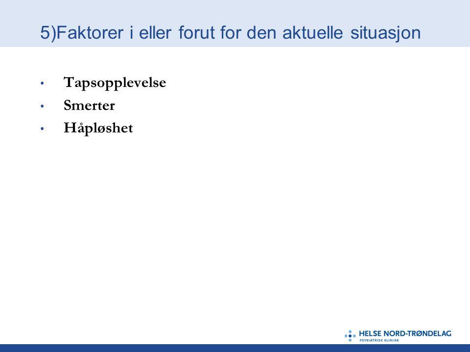 5)Faktorer i eller forut for den aktuelle situasjon