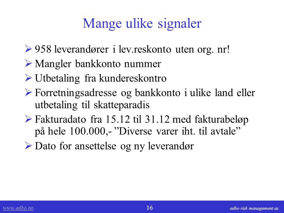 Mange ulike signaler 958 leverandører i lev.reskonto uten org. nr!