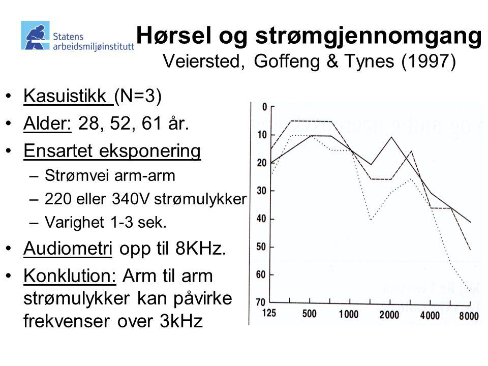 Hørsel og strømgjennomgang Veiersted, Goffeng & Tynes (1997)