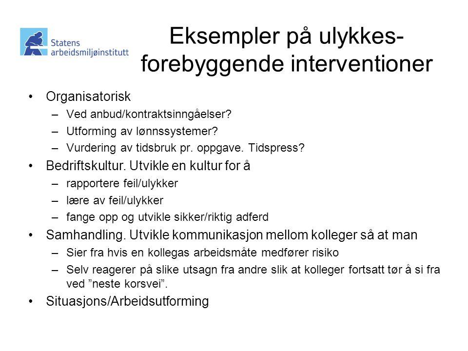 Eksempler på ulykkes-forebyggende interventioner