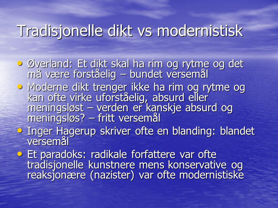Tradisjonelle dikt vs modernistisk