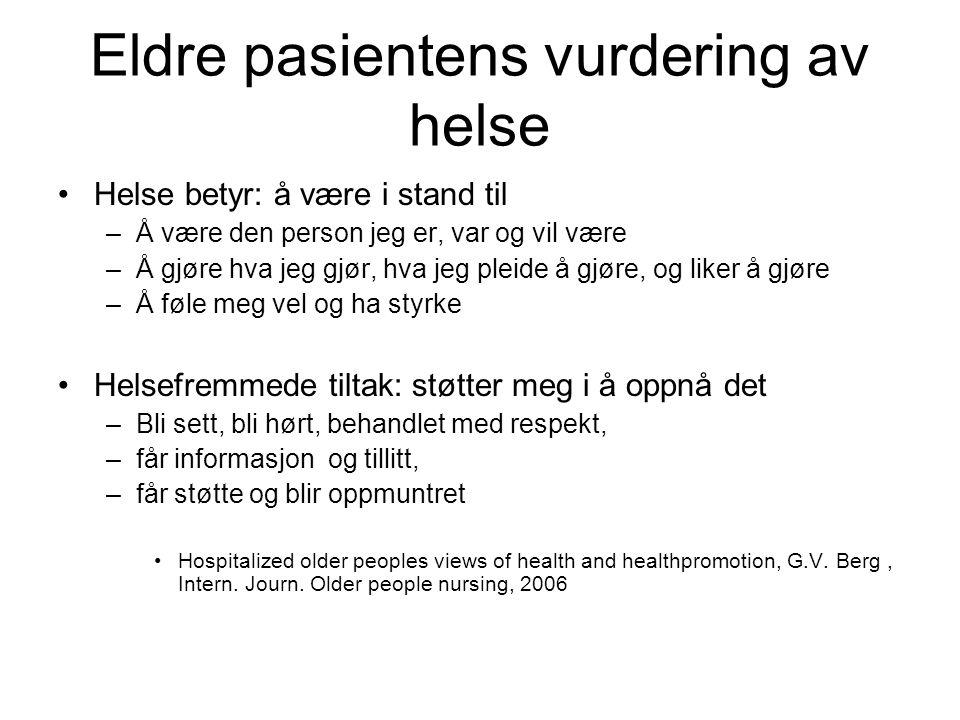Eldre pasientens vurdering av helse