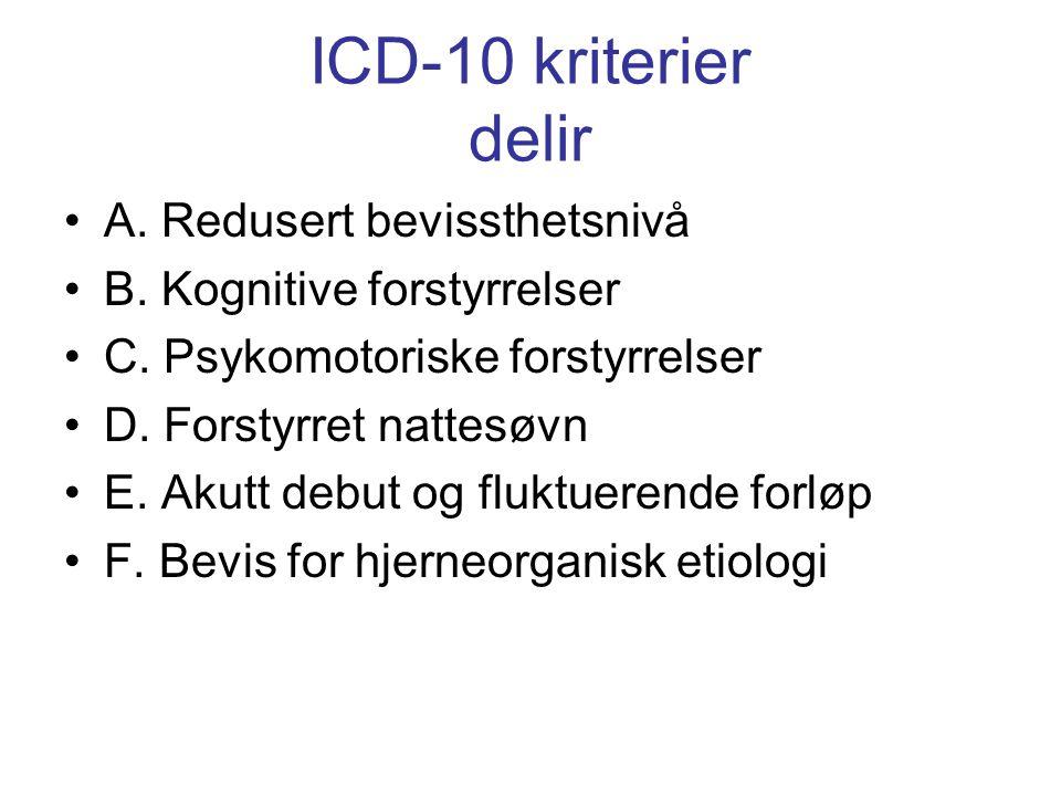 ICD-10 kriterier delir A. Redusert bevissthetsnivå