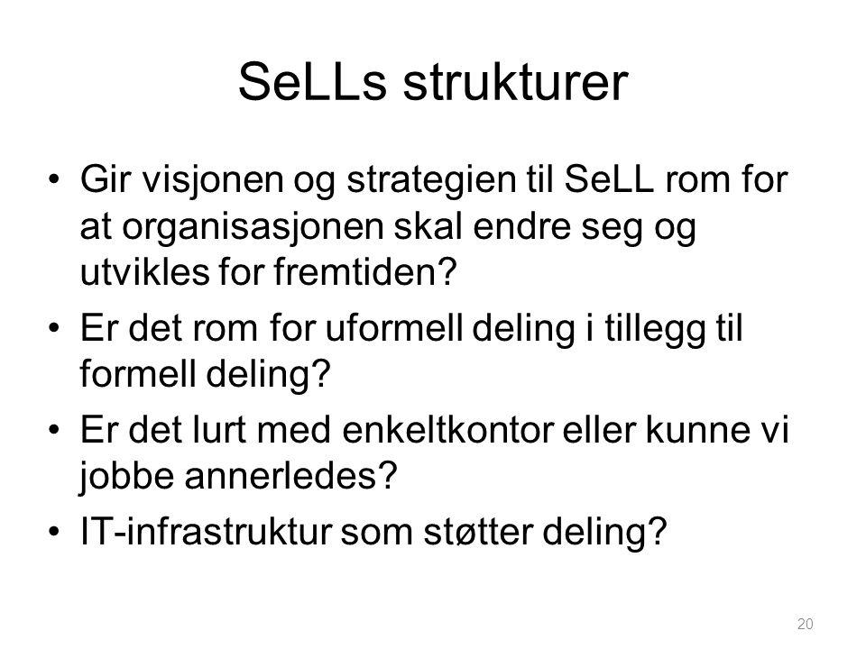 SeLLs strukturer Gir visjonen og strategien til SeLL rom for at organisasjonen skal endre seg og utvikles for fremtiden