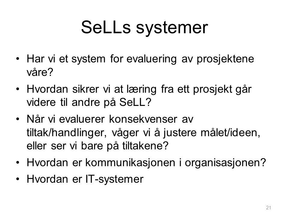 SeLLs systemer Har vi et system for evaluering av prosjektene våre