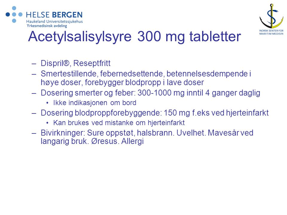 Acetylsalisylsyre 300 mg tabletter