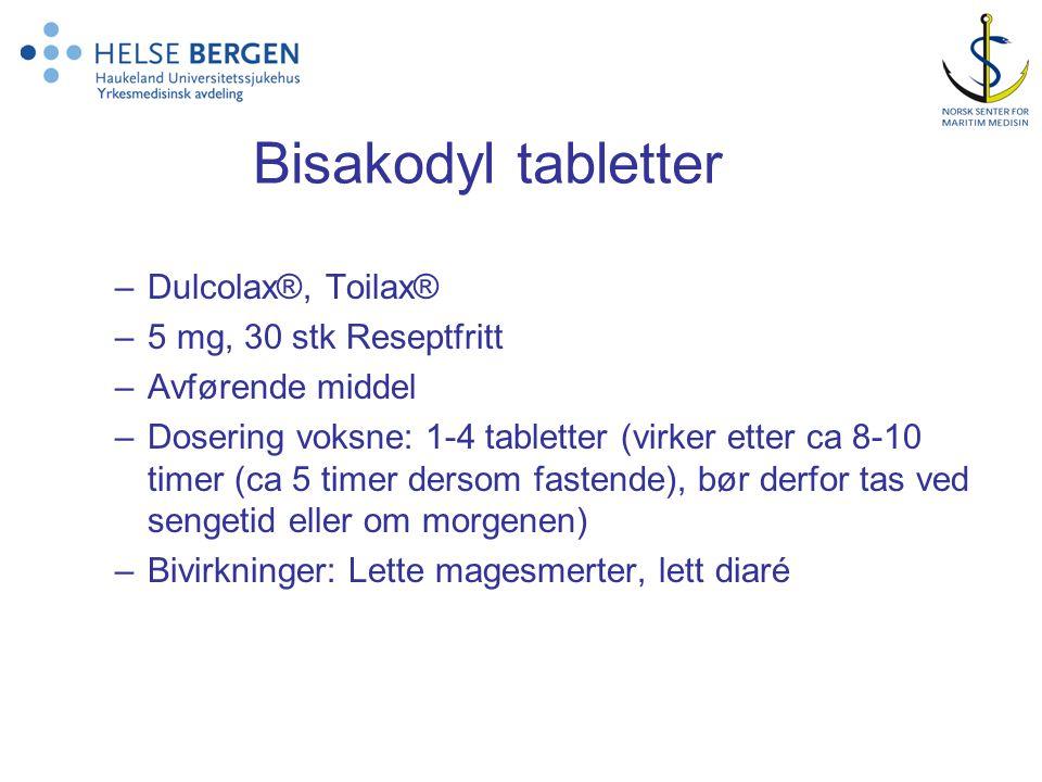 Bisakodyl tabletter Dulcolax®, Toilax® 5 mg, 30 stk Reseptfritt