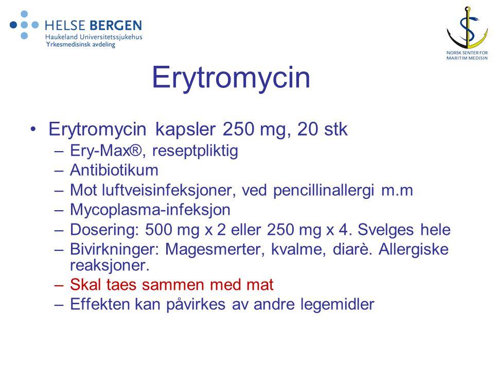Erytromycin Erytromycin kapsler 250 mg, 20 stk Ery-Max®, reseptpliktig