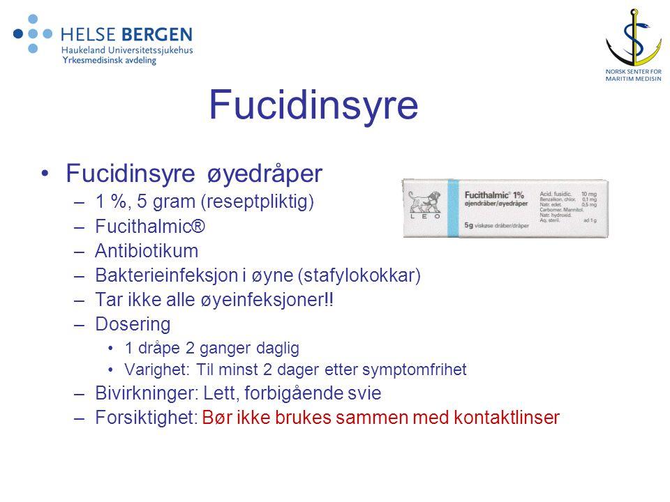 Fucidinsyre Fucidinsyre øyedråper 1 %, 5 gram (reseptpliktig)