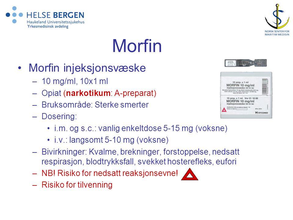 Morfin Morfin injeksjonsvæske 10 mg/ml, 10x1 ml