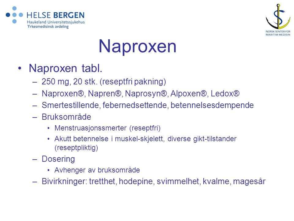 Naproxen Naproxen tabl. 250 mg, 20 stk. (reseptfri pakning)