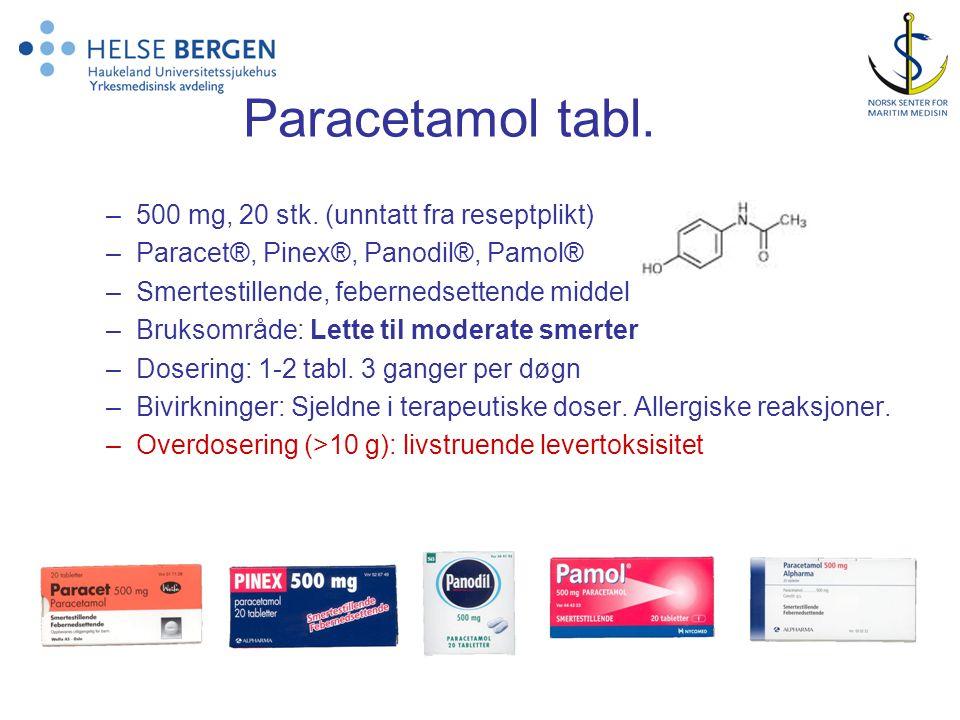 Paracetamol tabl. 500 mg, 20 stk. (unntatt fra reseptplikt)