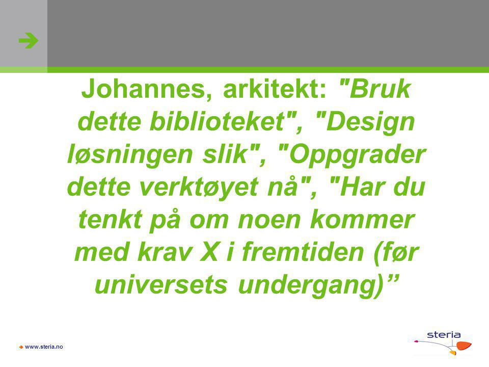 Johannes, arkitekt: Bruk dette biblioteket , Design løsningen slik , Oppgrader dette verktøyet nå , Har du tenkt på om noen kommer med krav X i fremtiden (før universets undergang)