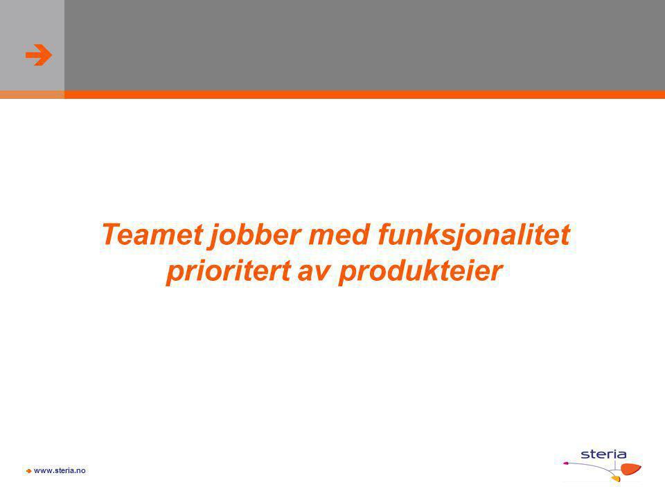 Teamet jobber med funksjonalitet prioritert av produkteier