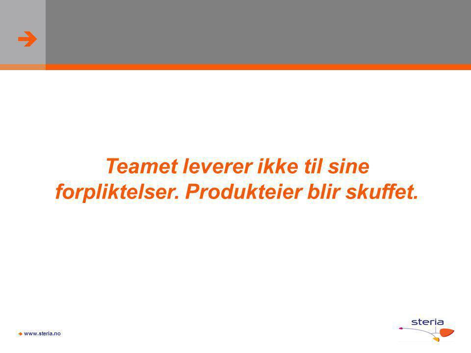 Teamet leverer ikke til sine forpliktelser. Produkteier blir skuffet.