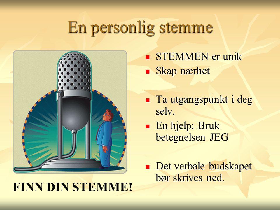 En personlig stemme FINN DIN STEMME! STEMMEN er unik Skap nærhet