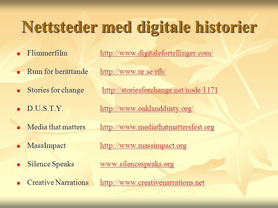 Nettsteder med digitale historier