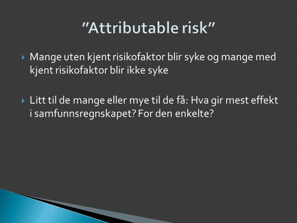 Attributable risk Mange uten kjent risikofaktor blir syke og mange med kjent risikofaktor blir ikke syke.