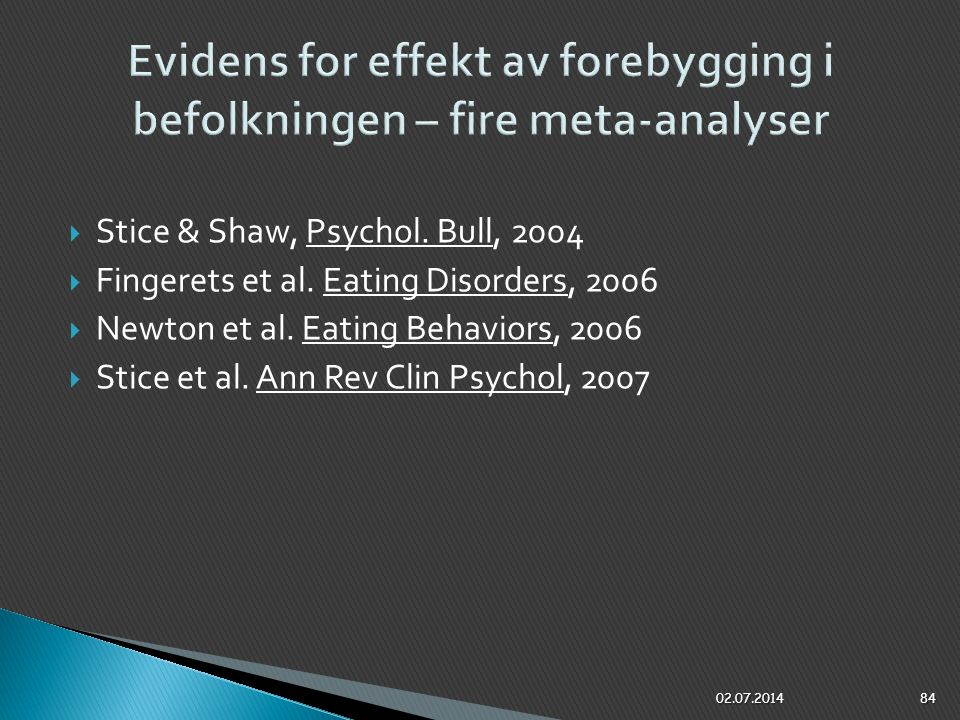 Evidens for effekt av forebygging i befolkningen – fire meta-analyser