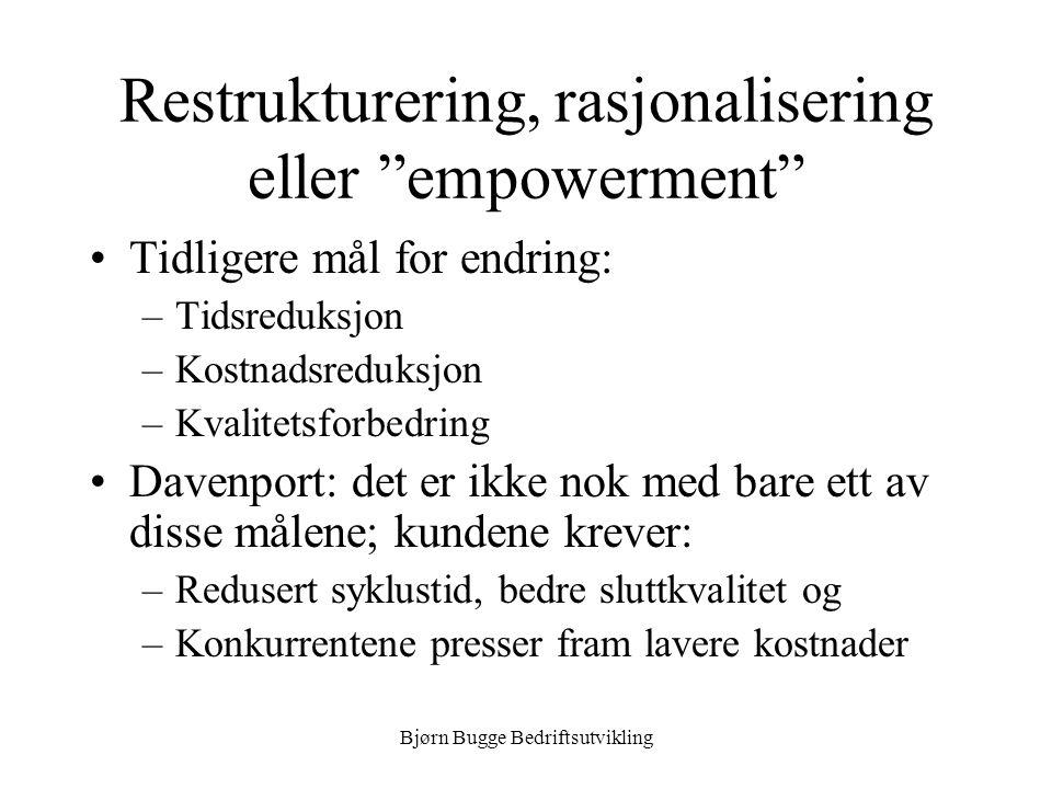 Restrukturering, rasjonalisering eller empowerment
