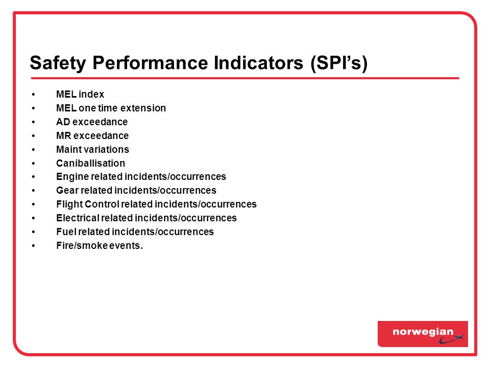 Safety Performance Indicators (SPI's)